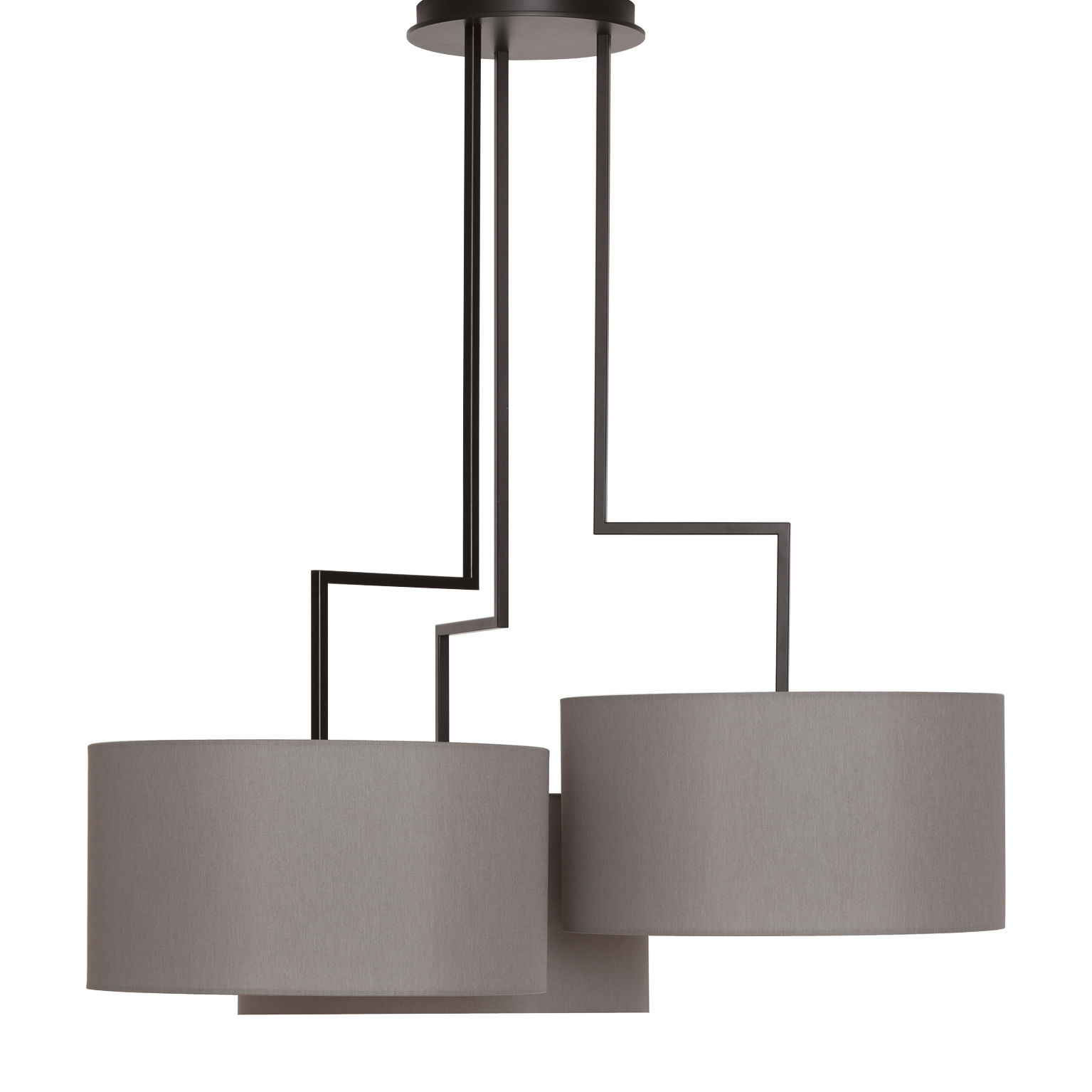 Suspension noon 3 h 99 cm abat jour gris structure noir for Lampe suspendu noir