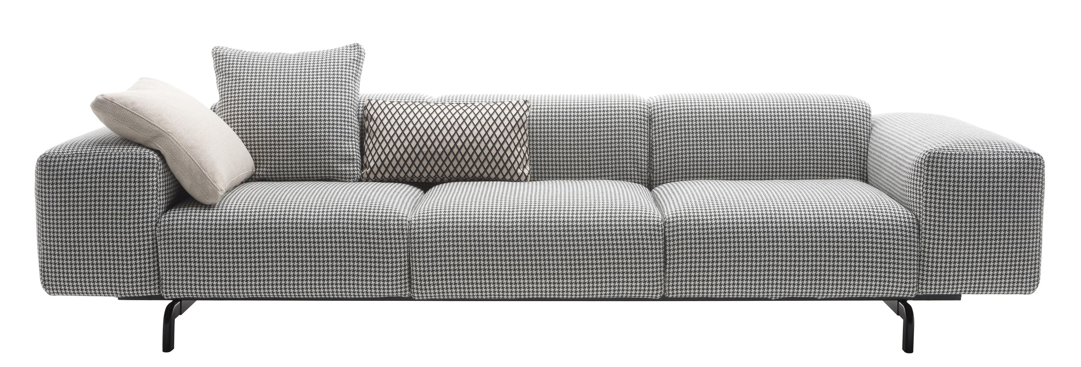 canap droit largo 3 places l 301 cm pied de poule noir pieds noirs kartell. Black Bedroom Furniture Sets. Home Design Ideas