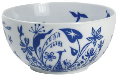 Image du produit Saladier Table Stories - Flower Paecocks / Ø 22 cm - Authentics Bleu cobalt en Céramique