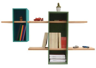 Foto Scaffale Max - / Doppio - 2 scatole + 2 scaffali di Compagnie - Turchese menta,Verde Rreseda - Legno