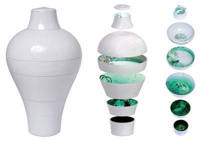 Foto Servizio da tavola Ming - Set 6 pezzi impilabili di Ibride - Bianco,Verde - Materiale plastico