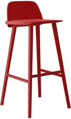 Foto Sedia da bar Nerd - / Seduta H 75 cm di Muuto - Rosso - Legno