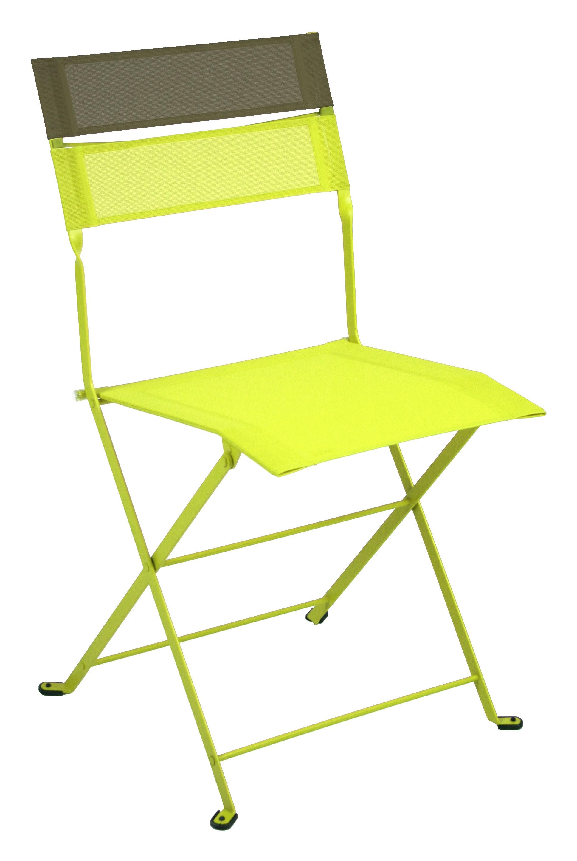 Chaise pliante latitude toile verveine bandeau savane fermob - Chaise pliante en toile ...