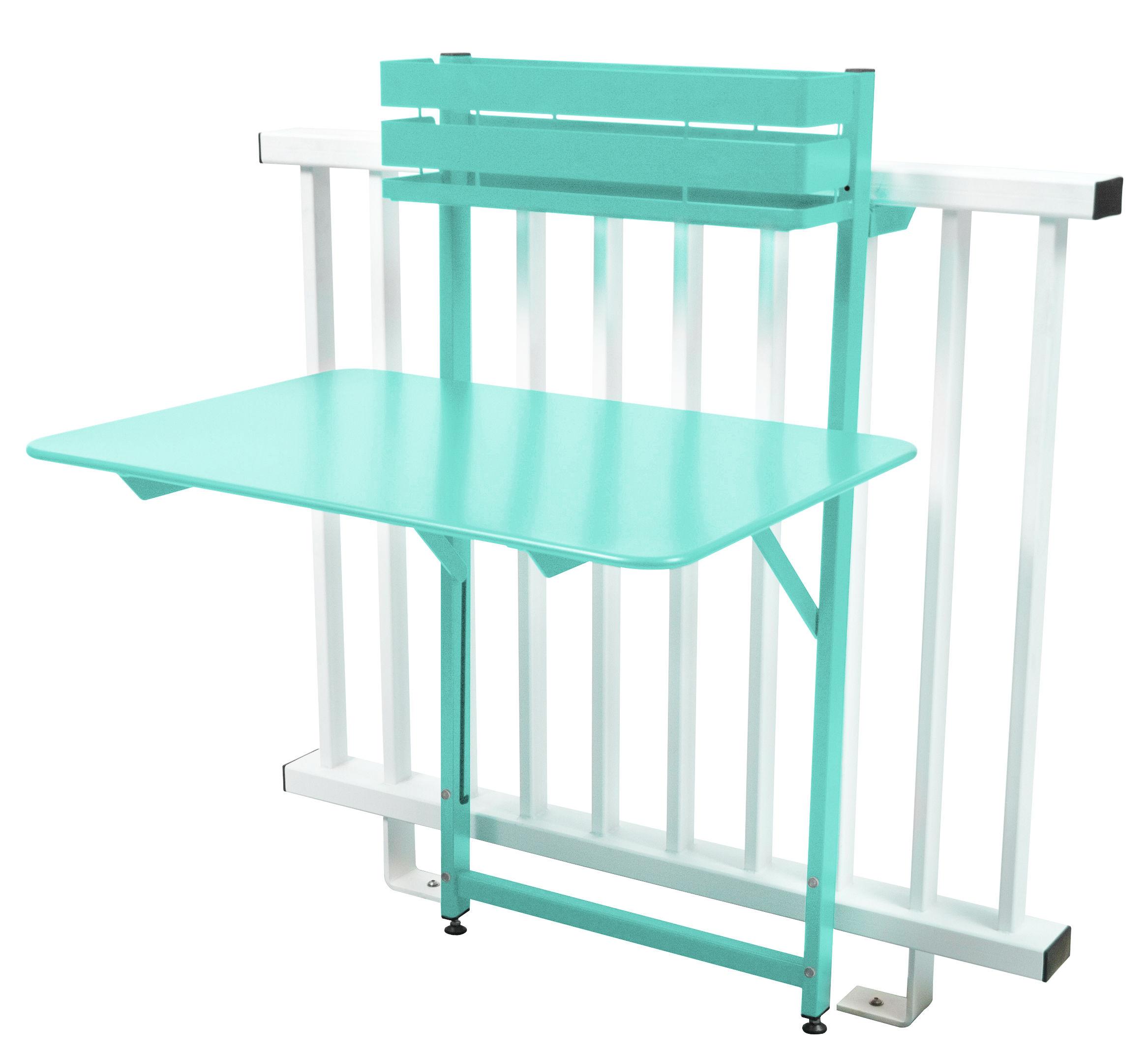 Table pliante balcon bistro rabattable 77 x 64 cm bleu lagune fermob Table balcon pliante rabattable