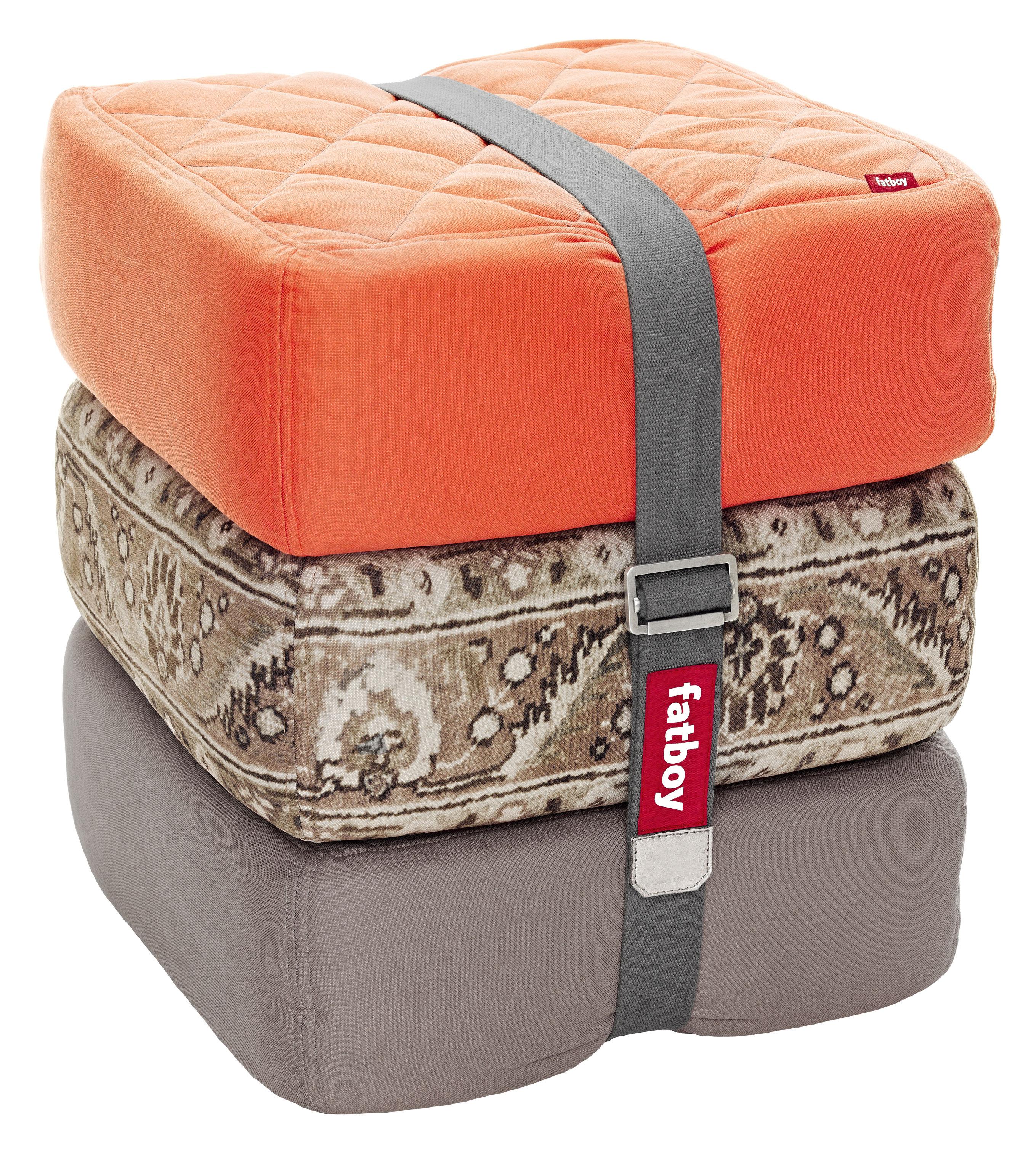 pouf baboesjka set 3 coussins de sol orange taupe. Black Bedroom Furniture Sets. Home Design Ideas