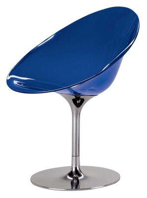 Foto Poltrona girevole Ero/S/ - Trasparente - Piede centrale di Kartell - Azzurro trasparente - Materiale plastico