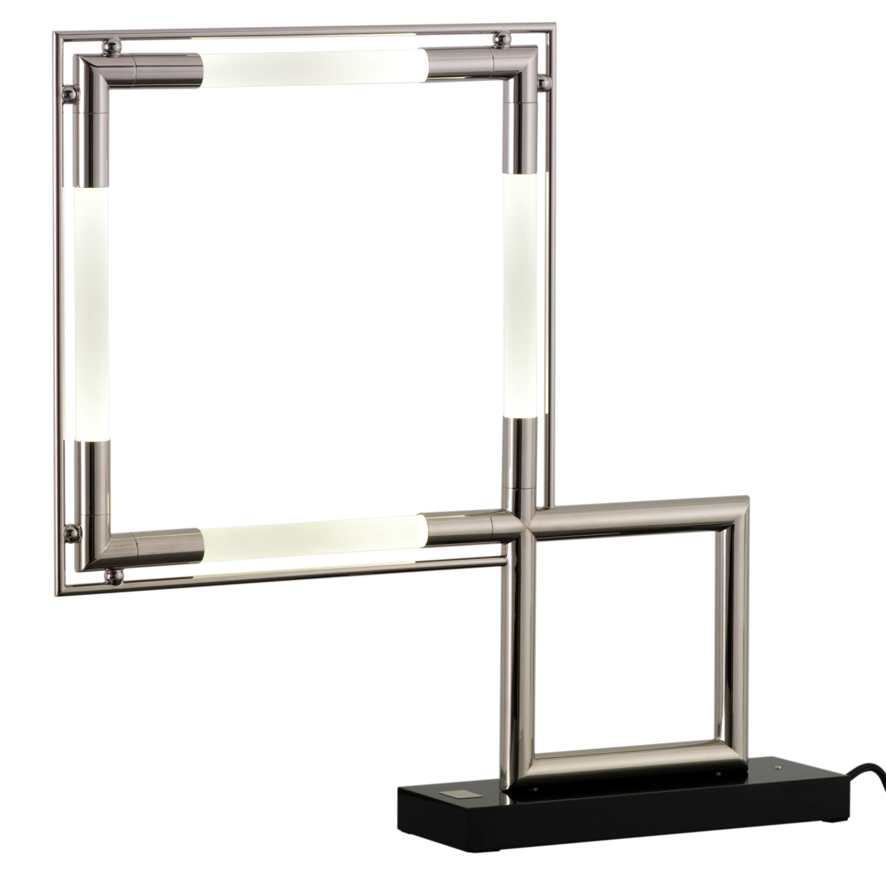 lampe de table quadro led r dition 1929 noir chrom lumen center italia. Black Bedroom Furniture Sets. Home Design Ideas