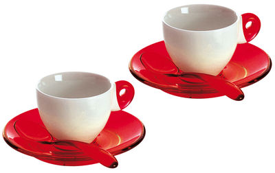 tasse caf set 2 tasses 2 soucoupes 2 cuill res rouge guzzini. Black Bedroom Furniture Sets. Home Design Ideas