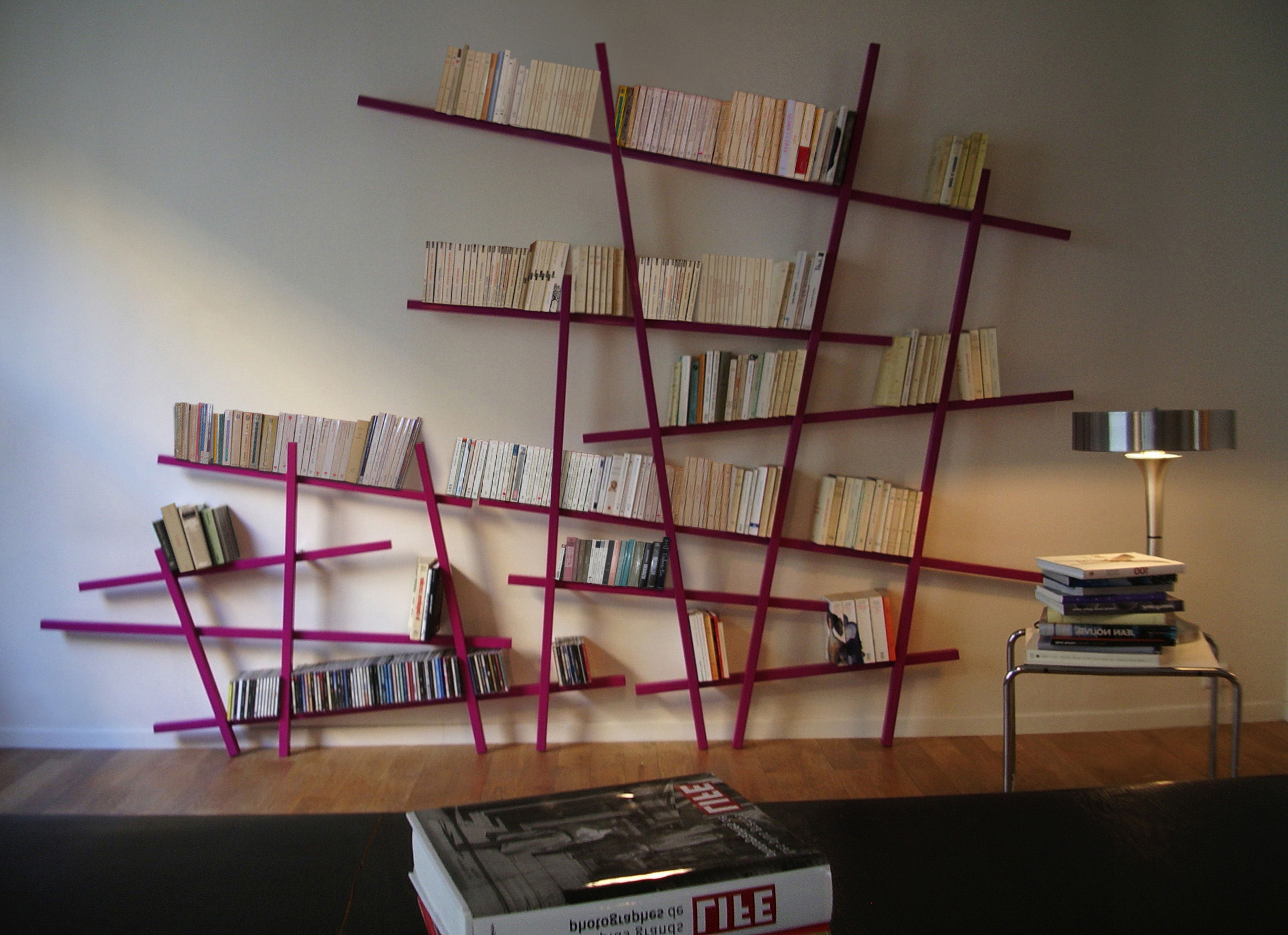 biblioth que mikado large l 215 x h 220 cm rouge compagnie. Black Bedroom Furniture Sets. Home Design Ideas