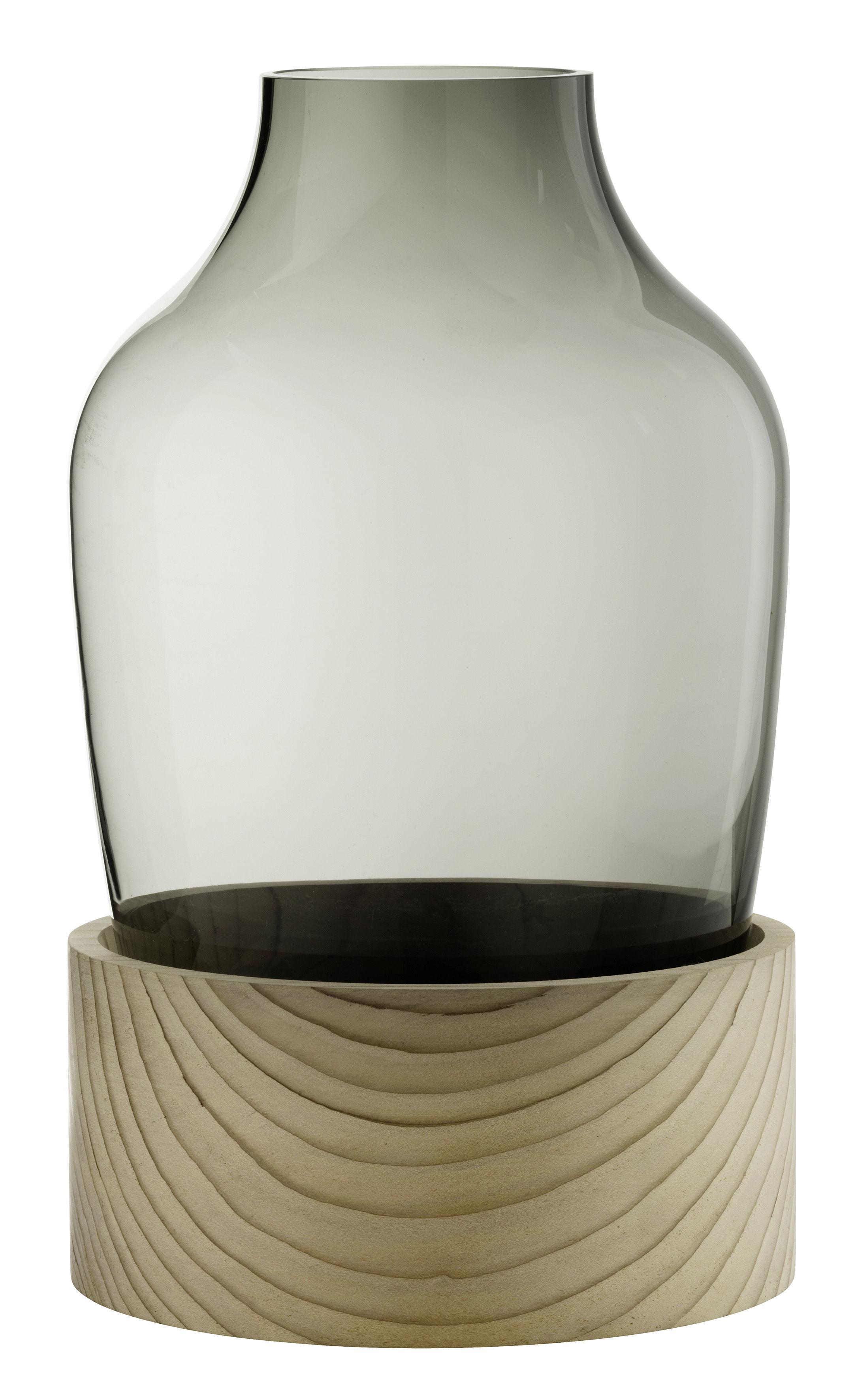 vase verre souffl bouche c dre h 30 cm verre fum. Black Bedroom Furniture Sets. Home Design Ideas