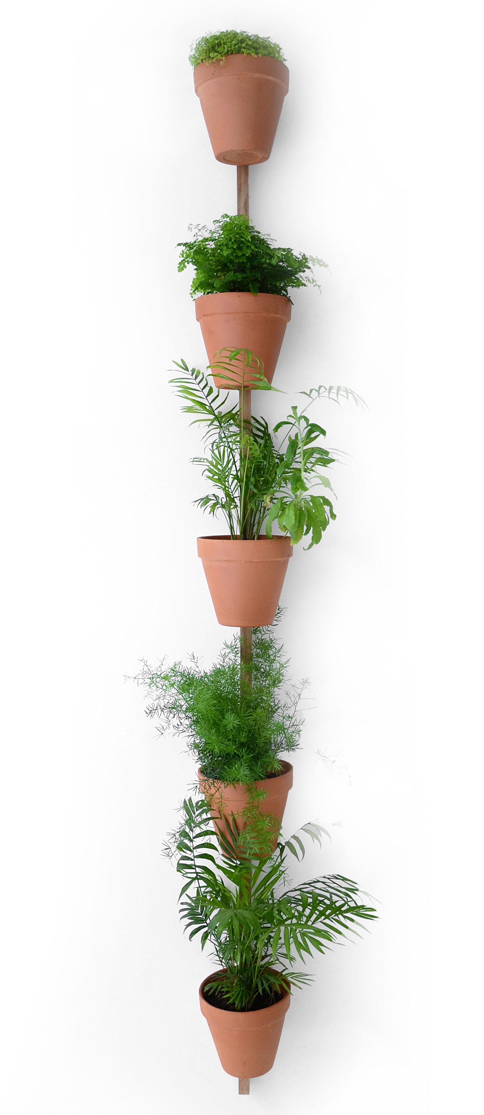 Support mural xpot pour 5 pots ou tag res de fleurs h 250 cm ch ne naturel compagnie for Porte plante mural interieur