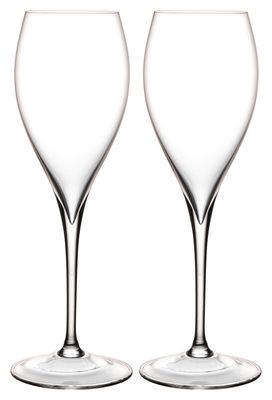 Fl te champagne grand piqu set de 2 transparent l 39 atelier du vin for Grand set de table
