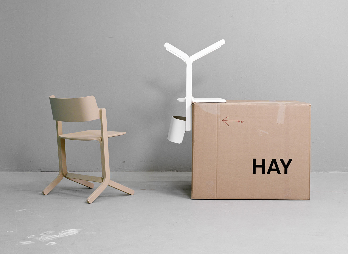 Ru stackable chair wood red by hay for Hay design