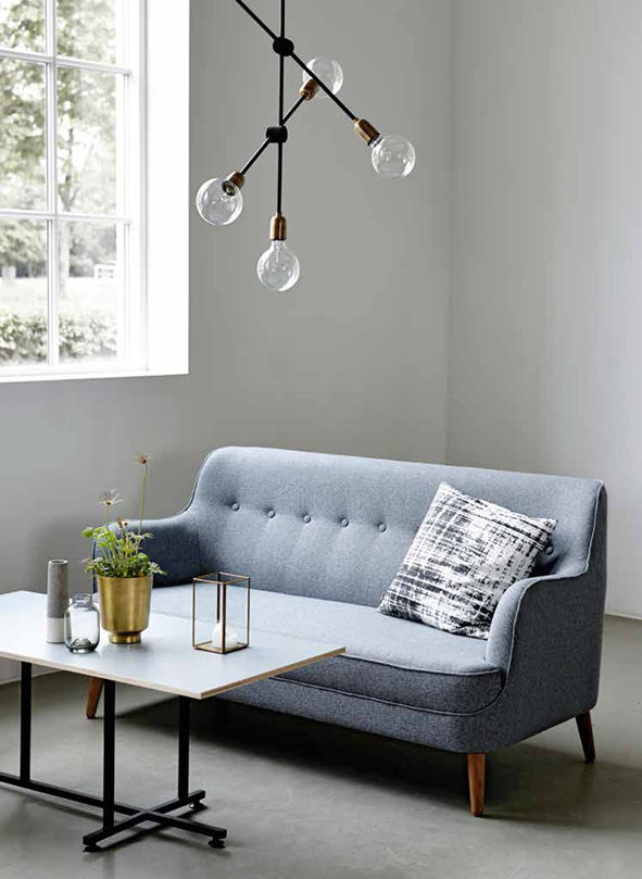 quest straight sofa l 161 cm grey blue by house doctor. Black Bedroom Furniture Sets. Home Design Ideas
