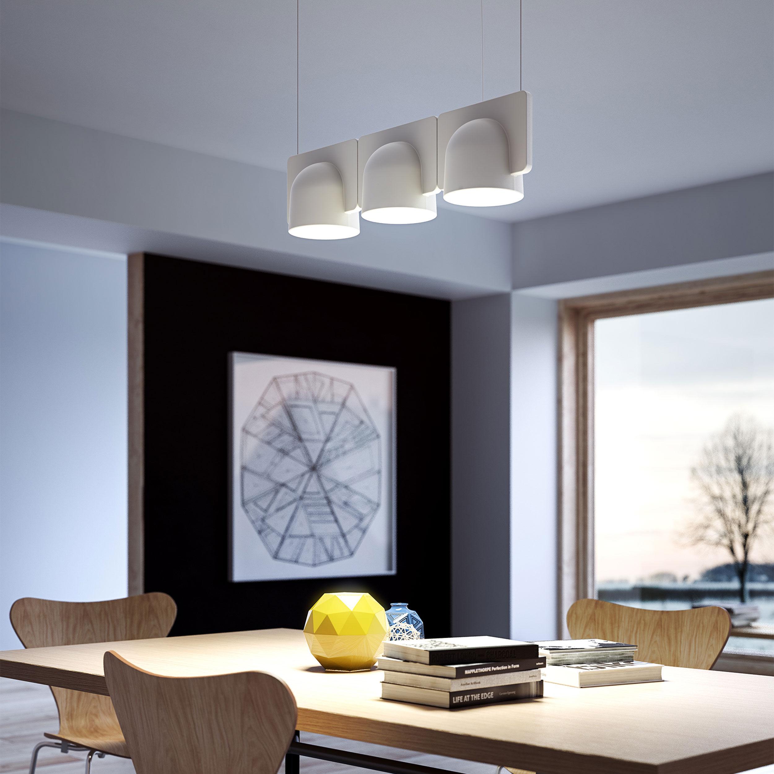 suspension igloo 3 led l 66 cm eclairage direct indirect blanc gris fontana arte. Black Bedroom Furniture Sets. Home Design Ideas