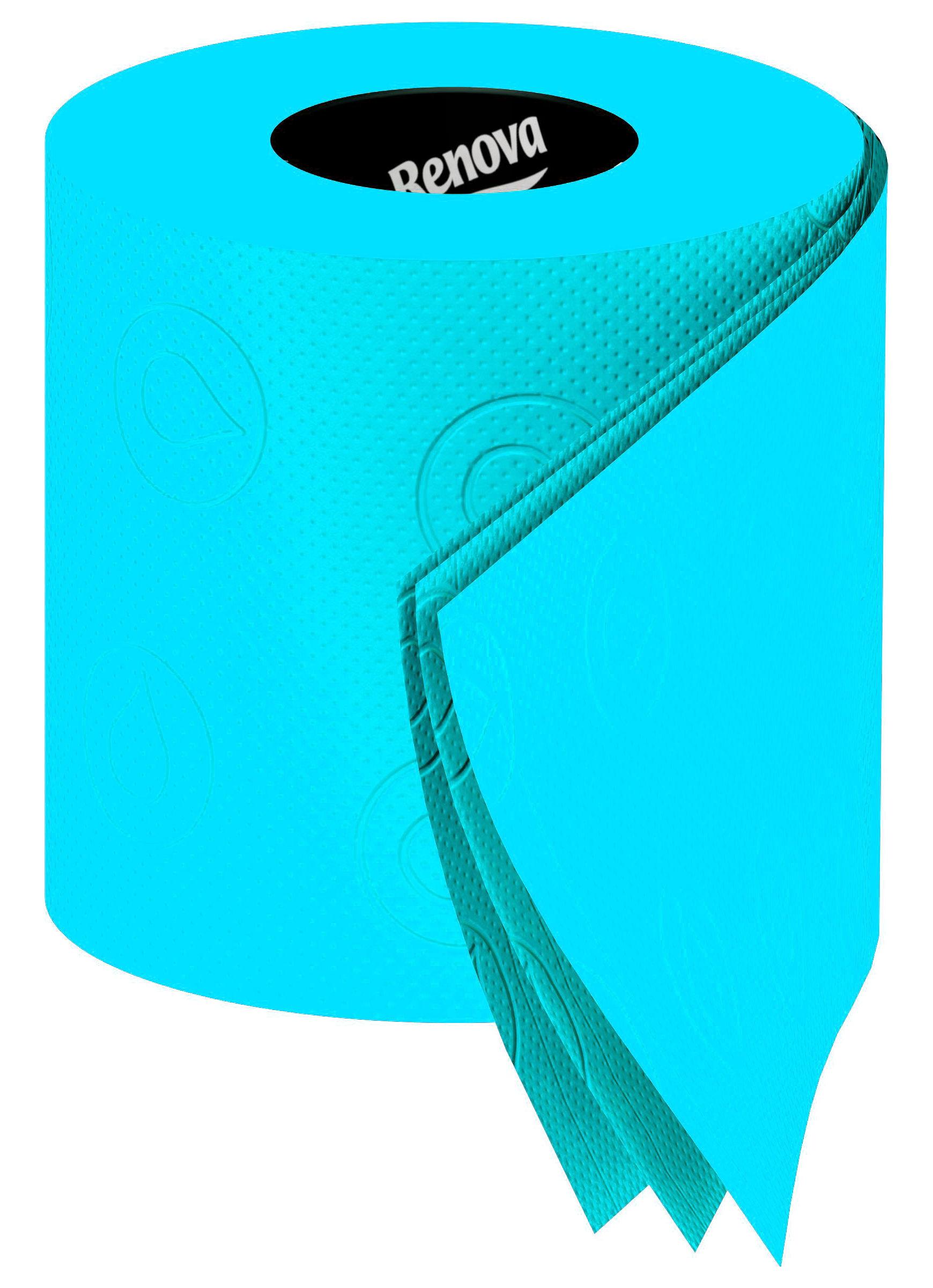 Papier toilette 6 rouleaux turquoise 6 rouleaux renova - Papier toilette colore ...