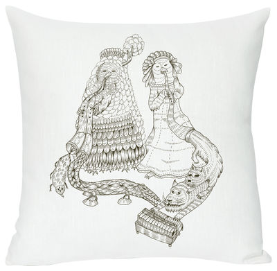 Cosmos Birds Cushion - Screen printed cushion made of linen & cotton