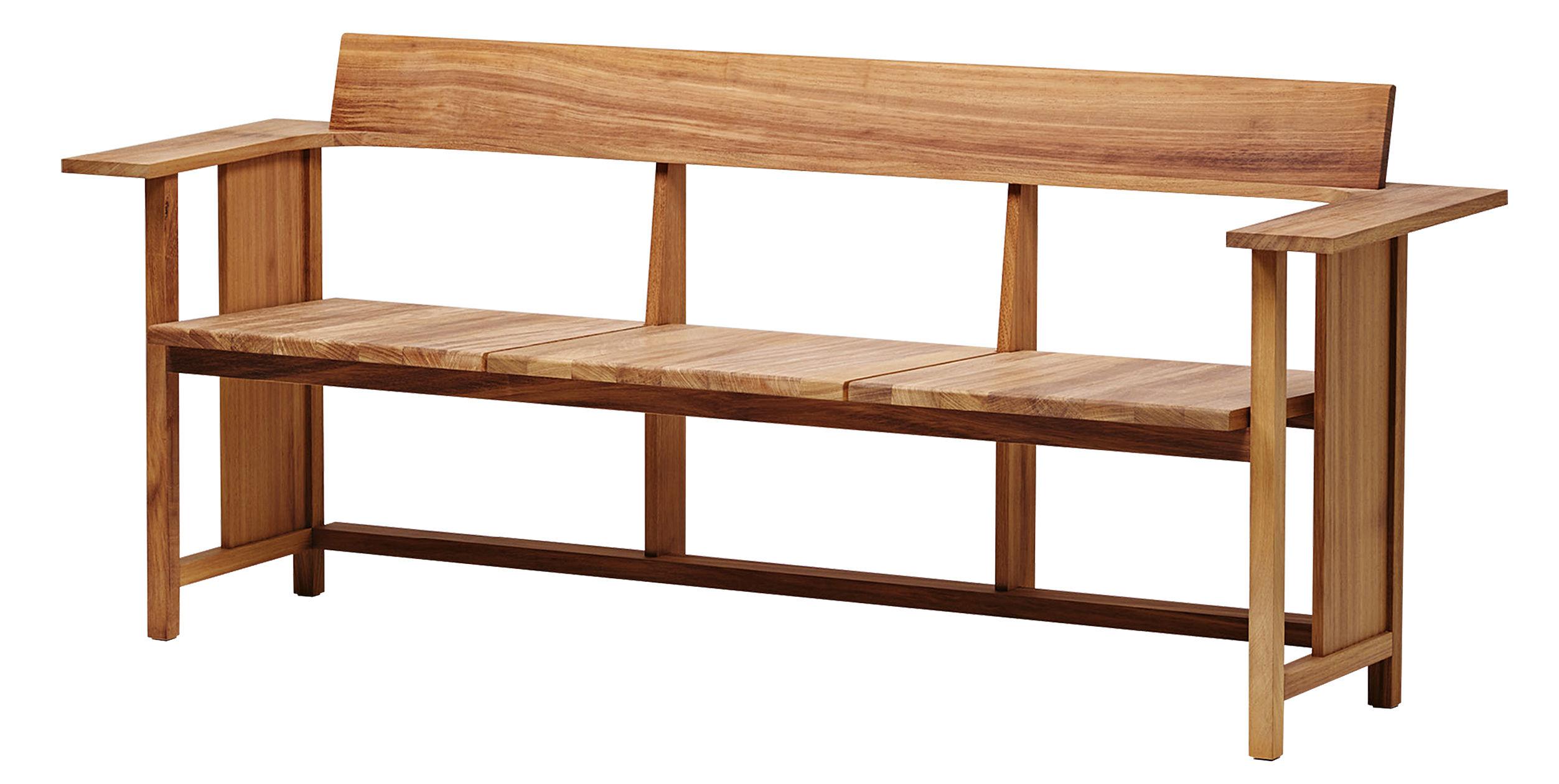 Banc avec dossier clerici outdoor 3 places l 196 cm assise droite bois d 39 iroko mattiazzi - Banc de cuisine avec dossier ...