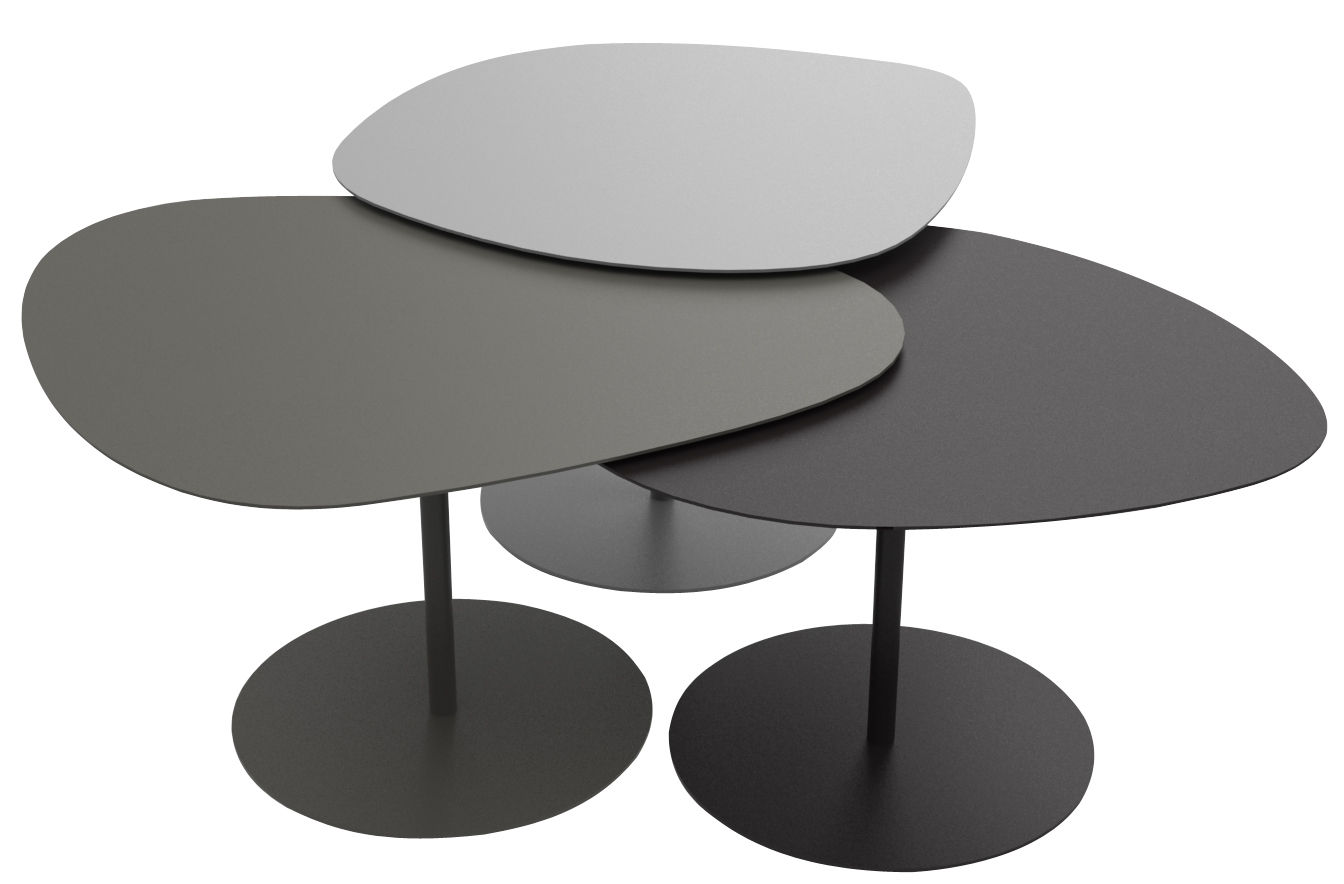Table basse 3 galets set de 3 tables gigognes gris alu - Table design grise ...