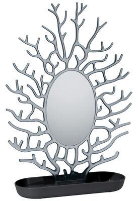 Foto Specchio Cora - / Porta bijoux - H 43 cm di Koziol - Nero opaco,Antracite trasparente - Materiale plastico