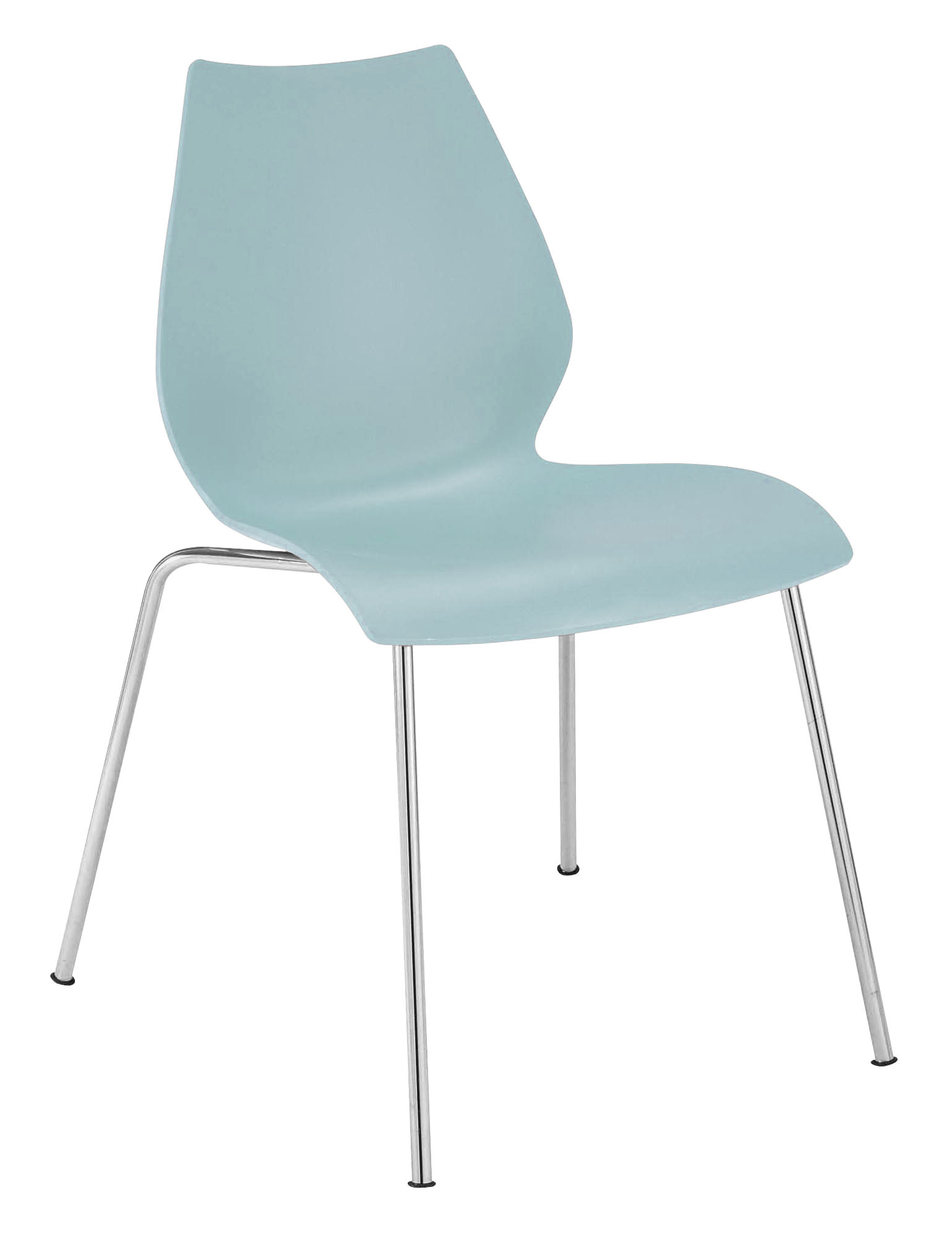 maui stackable chair plastic seat metal legs grey blue