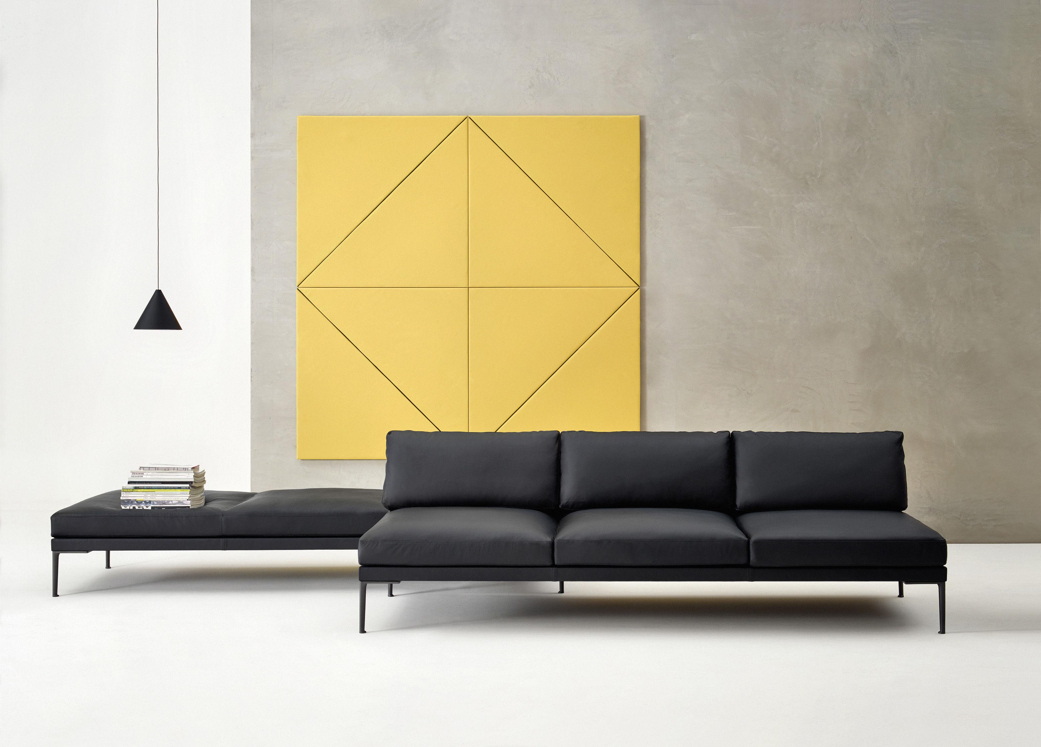 canap droit steeve cuir 3 places l 231 cm sans accoudoirs cuir noir ext rieur dossier. Black Bedroom Furniture Sets. Home Design Ideas