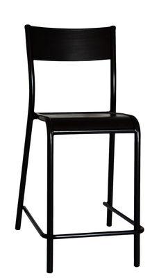chaise de bar 510 originale assise bois h 60 cm h 60 cm noir label edition. Black Bedroom Furniture Sets. Home Design Ideas