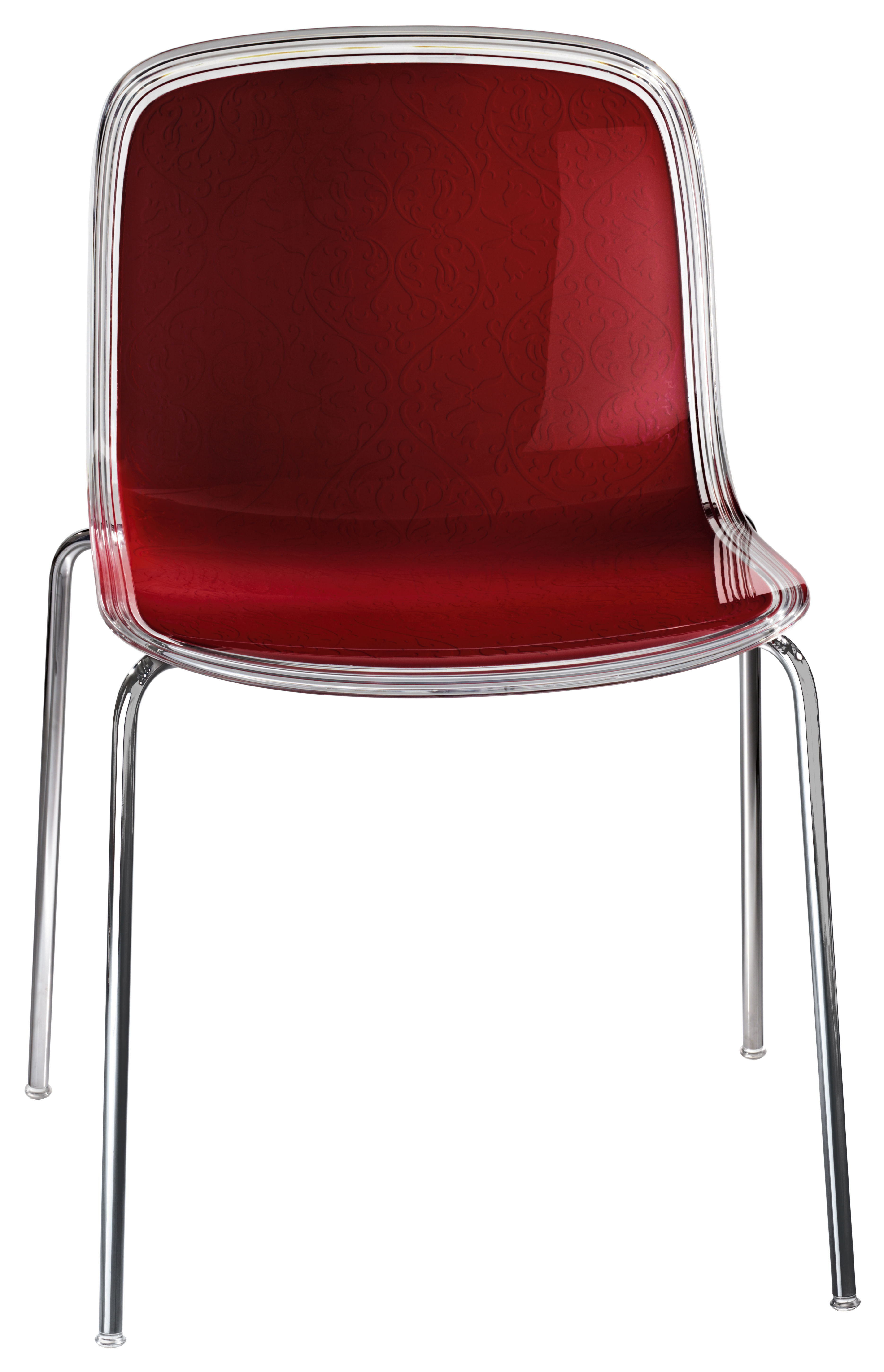 Chaise empilable troy plastique assise transparente avec arri re rouge magis - Chaise rouge transparente ...