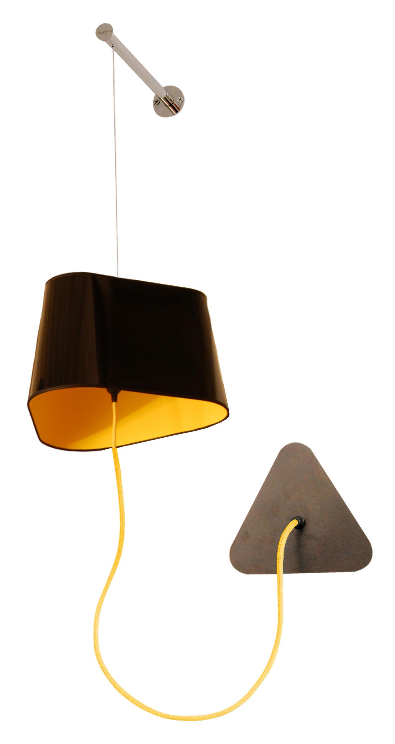 applique petit nuage l 24cm fixation murale pvc noir laqu int rieur tissu jaune designheure. Black Bedroom Furniture Sets. Home Design Ideas