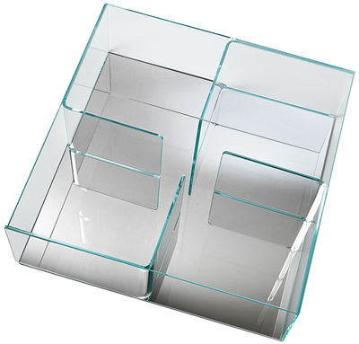 Quadra coffee table top transparent base mirror by fiam for Table titanium quadra 6