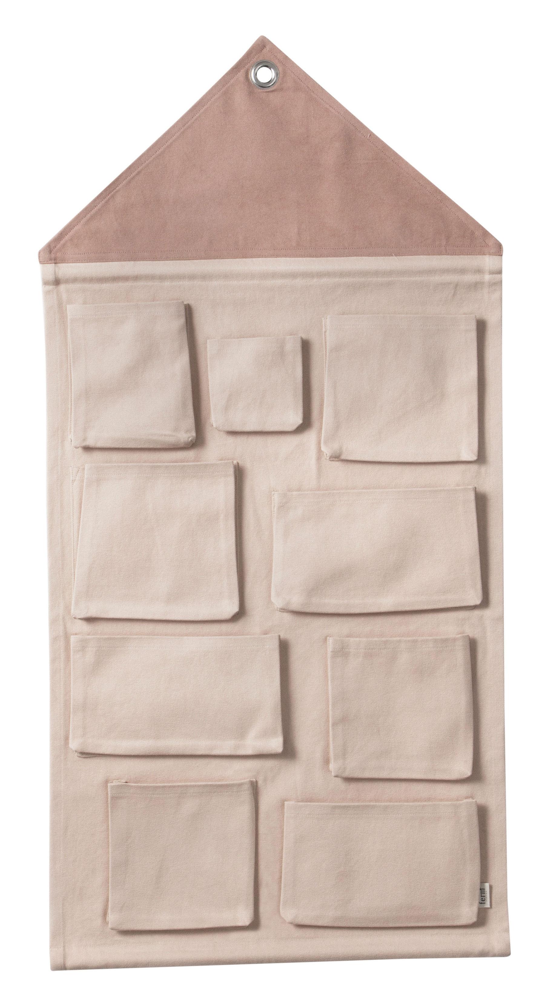 rangement mural house tissu l 80 x h 98 cm rose ferm. Black Bedroom Furniture Sets. Home Design Ideas