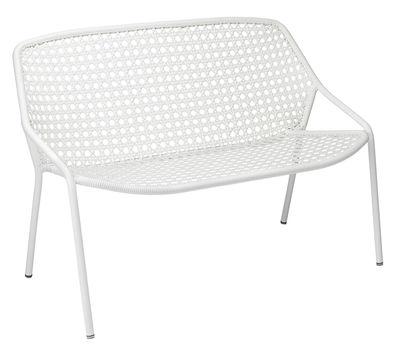 Foto Panca Croisette / L 122 cm - Plastica intrecciata - Fermob - Beige cotone - Materiale plastico