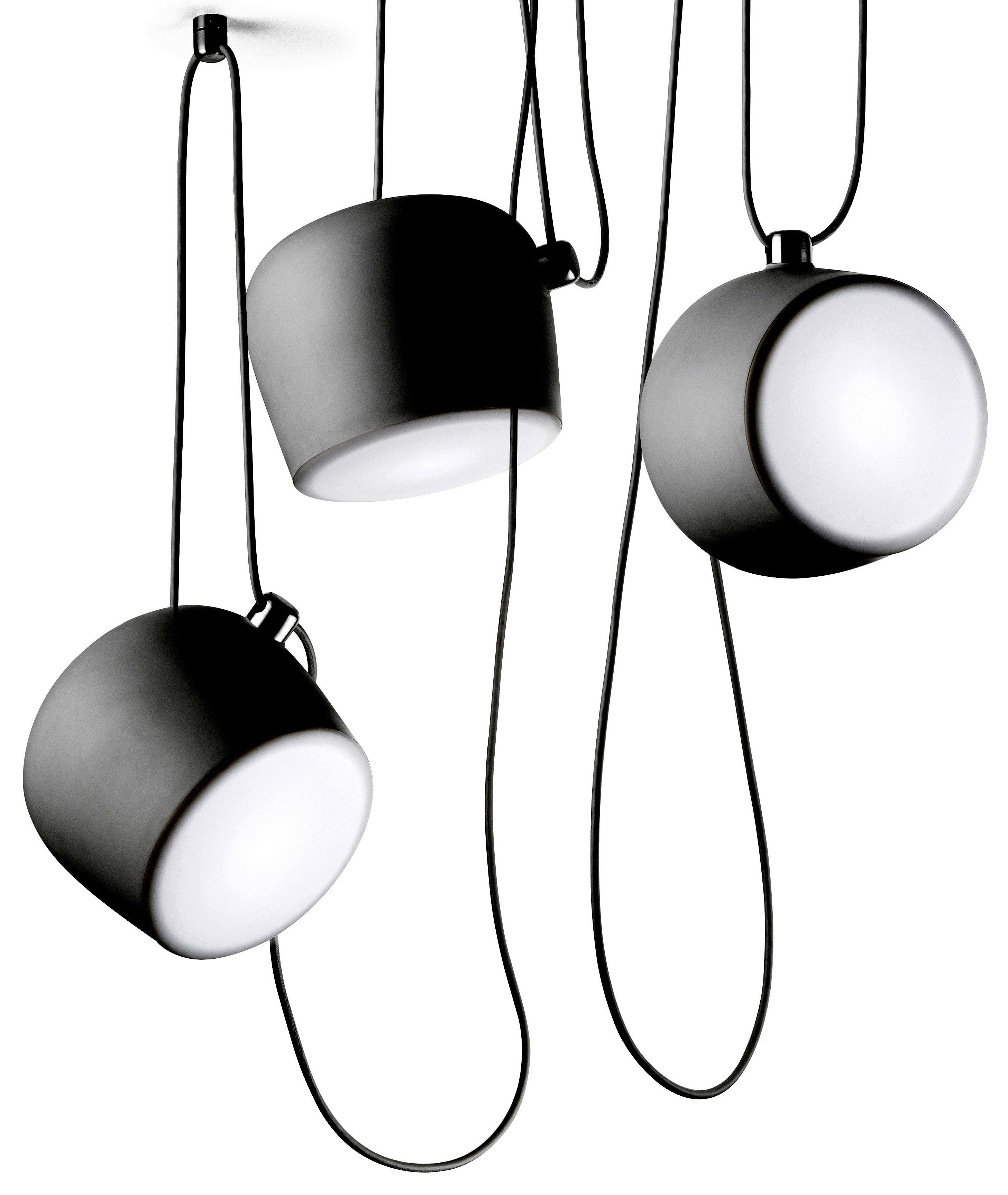 scopri sospensione aim led sospensione nera di flos made in design italia. Black Bedroom Furniture Sets. Home Design Ideas
