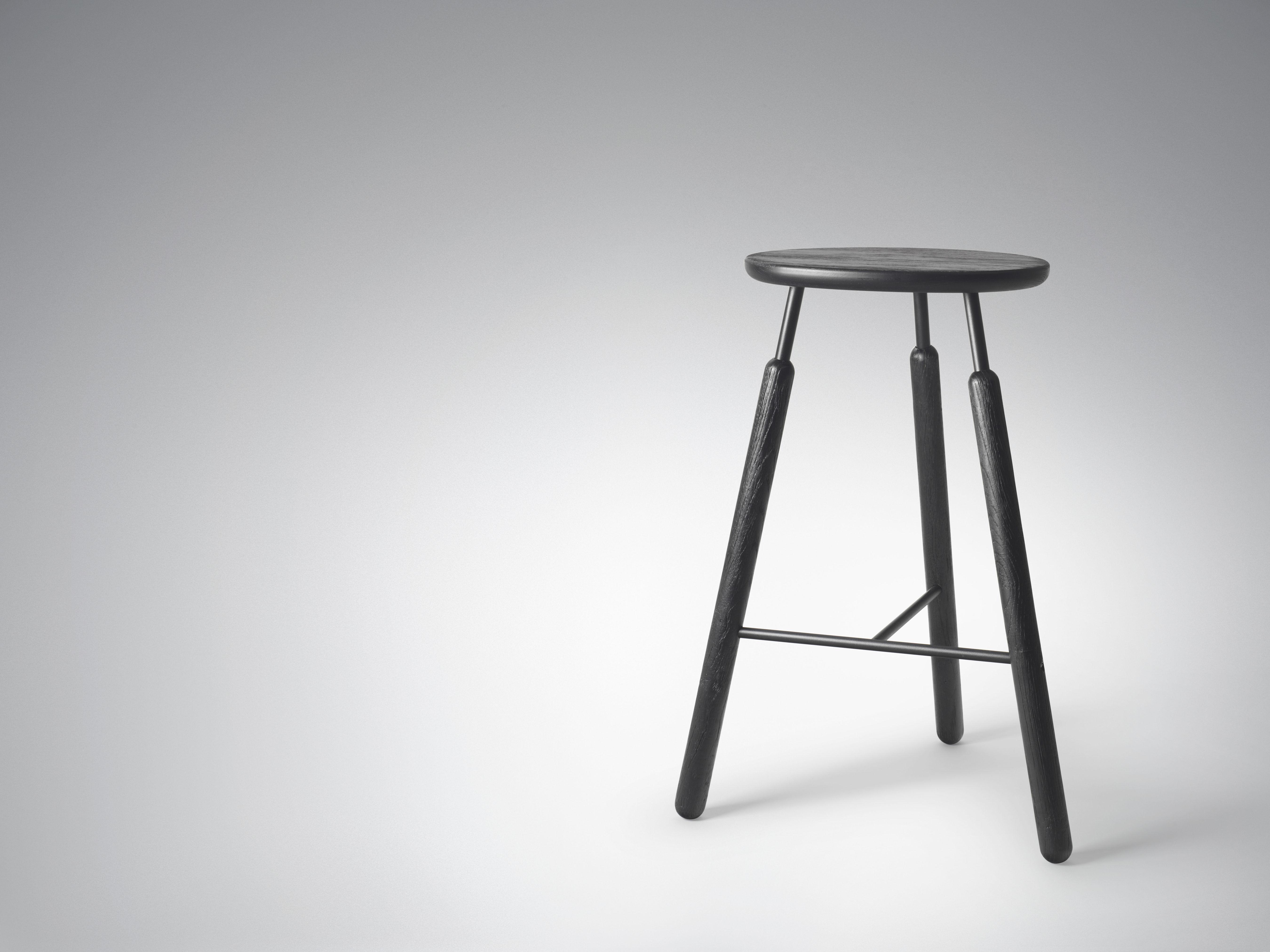 tabouret de bar raft bois m tal h 70 cm noir and tradition. Black Bedroom Furniture Sets. Home Design Ideas
