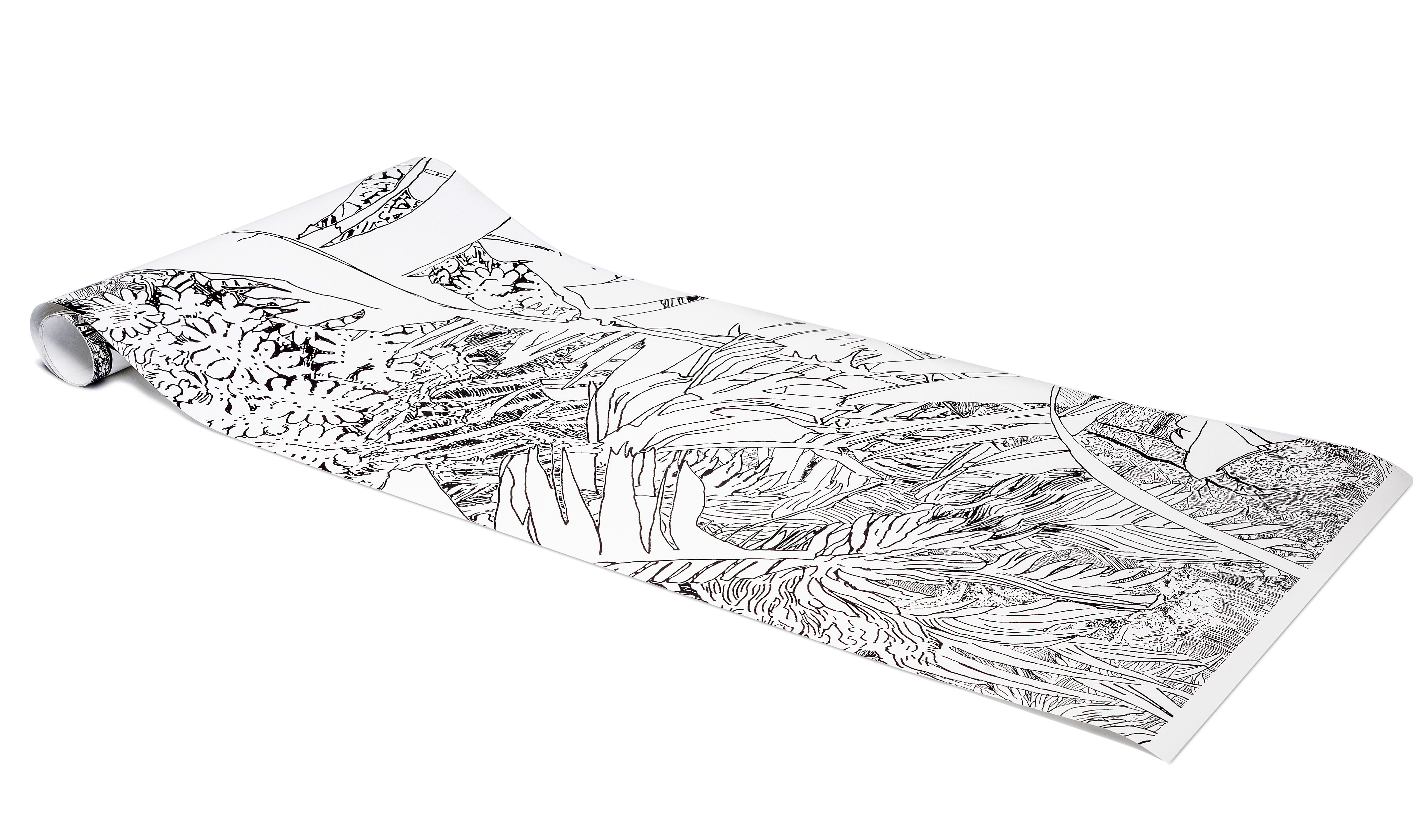 papier peint jungle 2 1 rouleau larg 48 cm noir petite friture. Black Bedroom Furniture Sets. Home Design Ideas