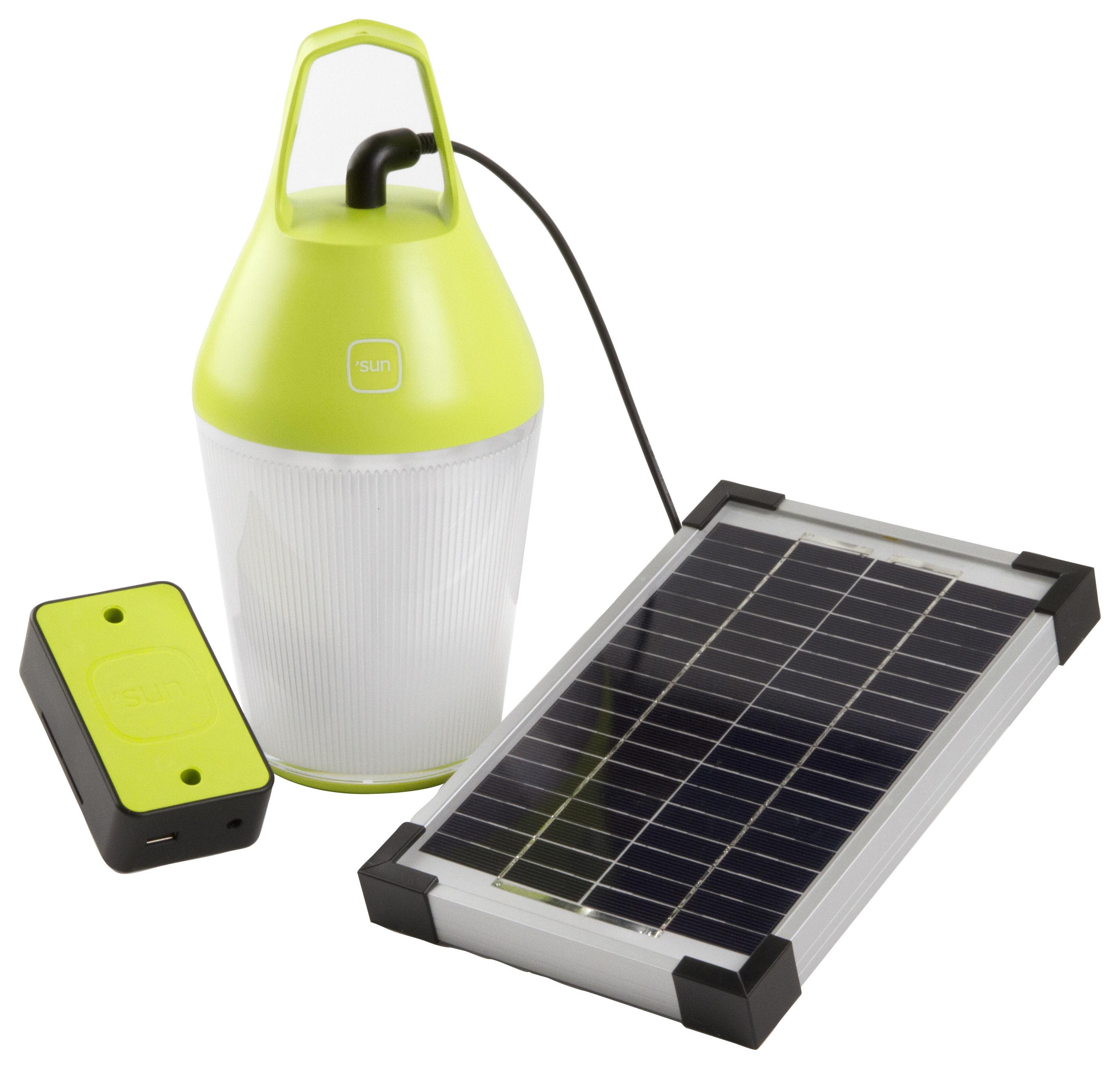 lampe solaire nomad sans fil chargeur d 39 appareils mobiles energie secteur ou solaire vert. Black Bedroom Furniture Sets. Home Design Ideas