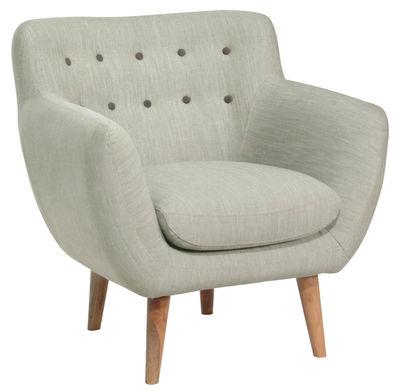 fauteuil rembourr coogee gris pierre boutons caf noir sentou edition. Black Bedroom Furniture Sets. Home Design Ideas