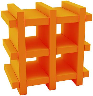 Foto Scaffale Booky mini - H 70 cm - Larg 70 cm di Slide - Arancione - Materiale plastico