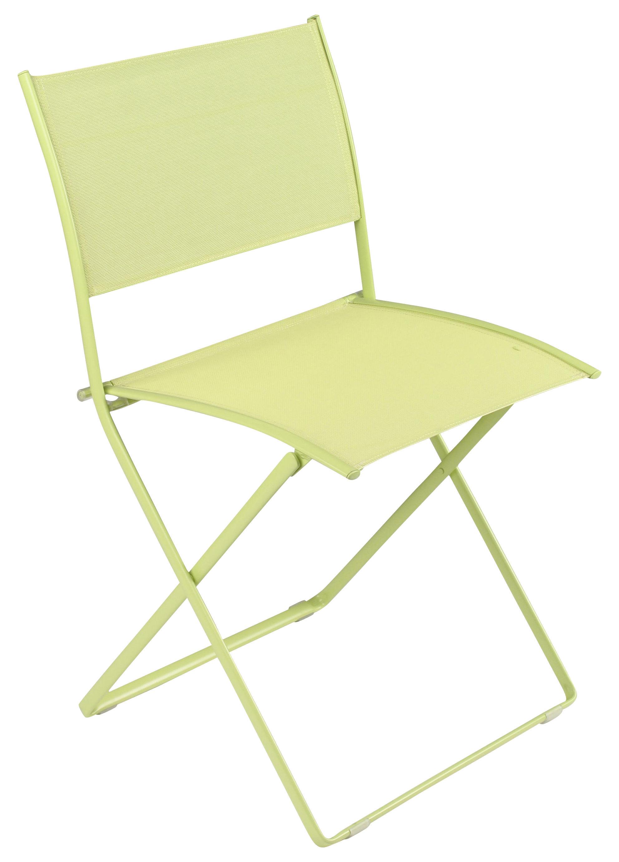Chaise pliante plein air toile anis fermob - Chaise pliante toile ...