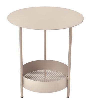 Foto Tavolino con piede centrale Salsa / Ø 50 x H 50 cm - Fermob - Lino - Metallo Tavolino rotondo