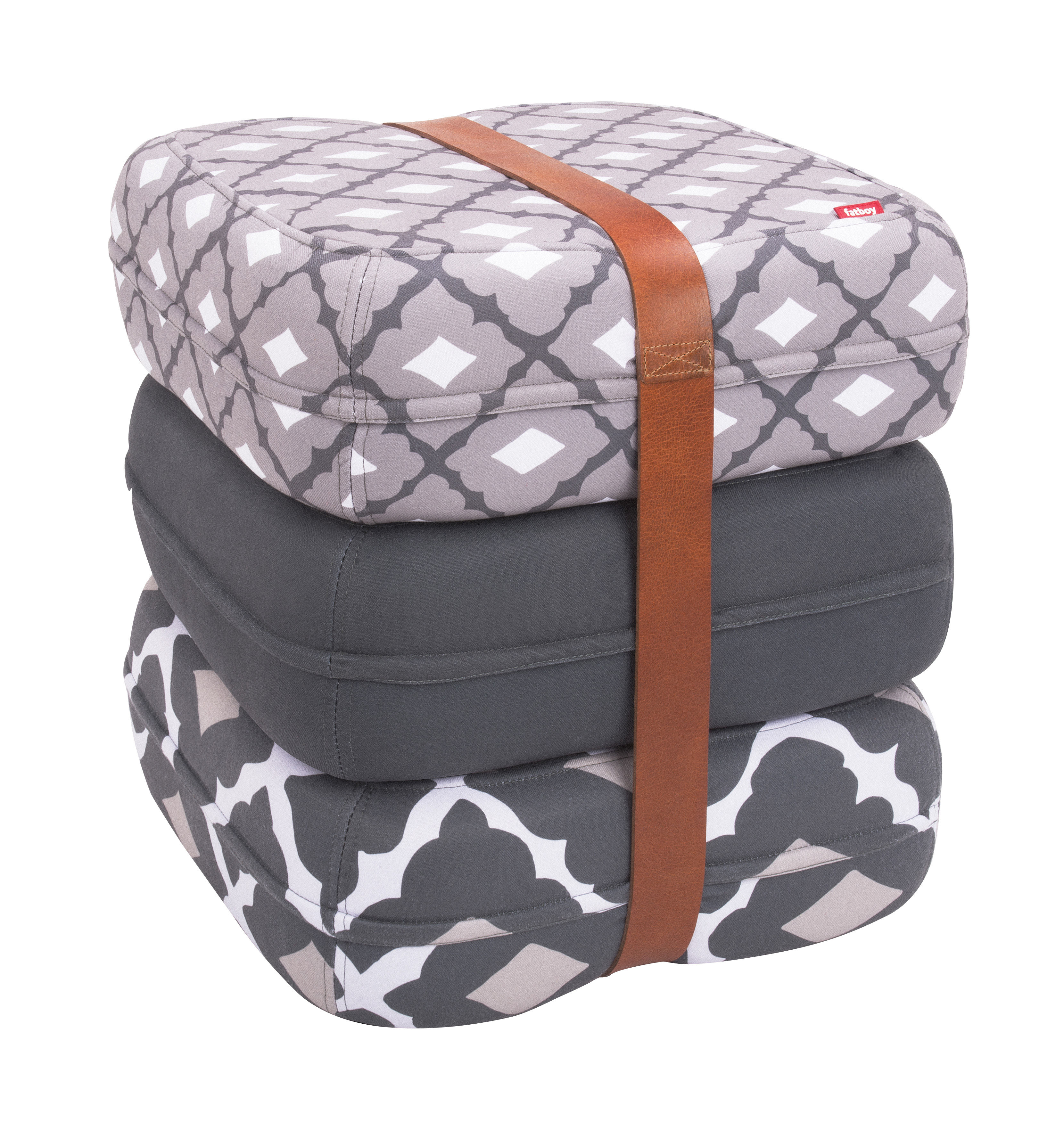 baboesjka pouf 3 floor cushions leather belt grey taupe white by fatboy. Black Bedroom Furniture Sets. Home Design Ideas