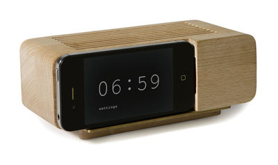 Alarm Dock Stand - / Wood base for Iphone