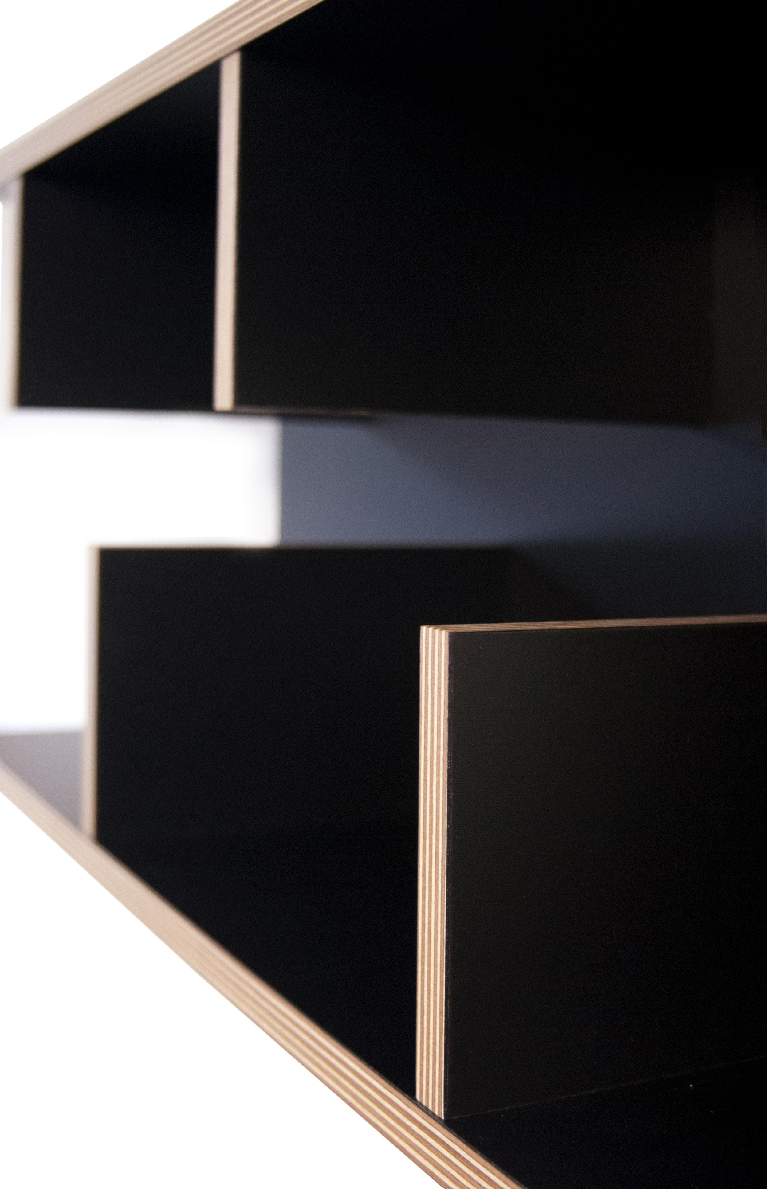 etag re rack l 90 x h 45 cm noir tranches bois pop. Black Bedroom Furniture Sets. Home Design Ideas