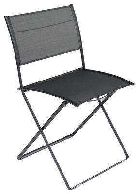 chaise pliante plein air toile noir fermob. Black Bedroom Furniture Sets. Home Design Ideas