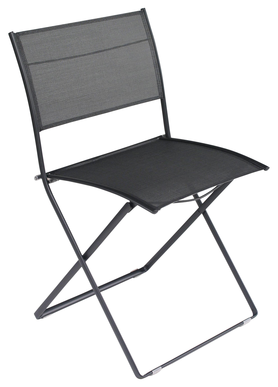 Chaise pliante plein air toile noir fermob - Chaise pliante toile ...