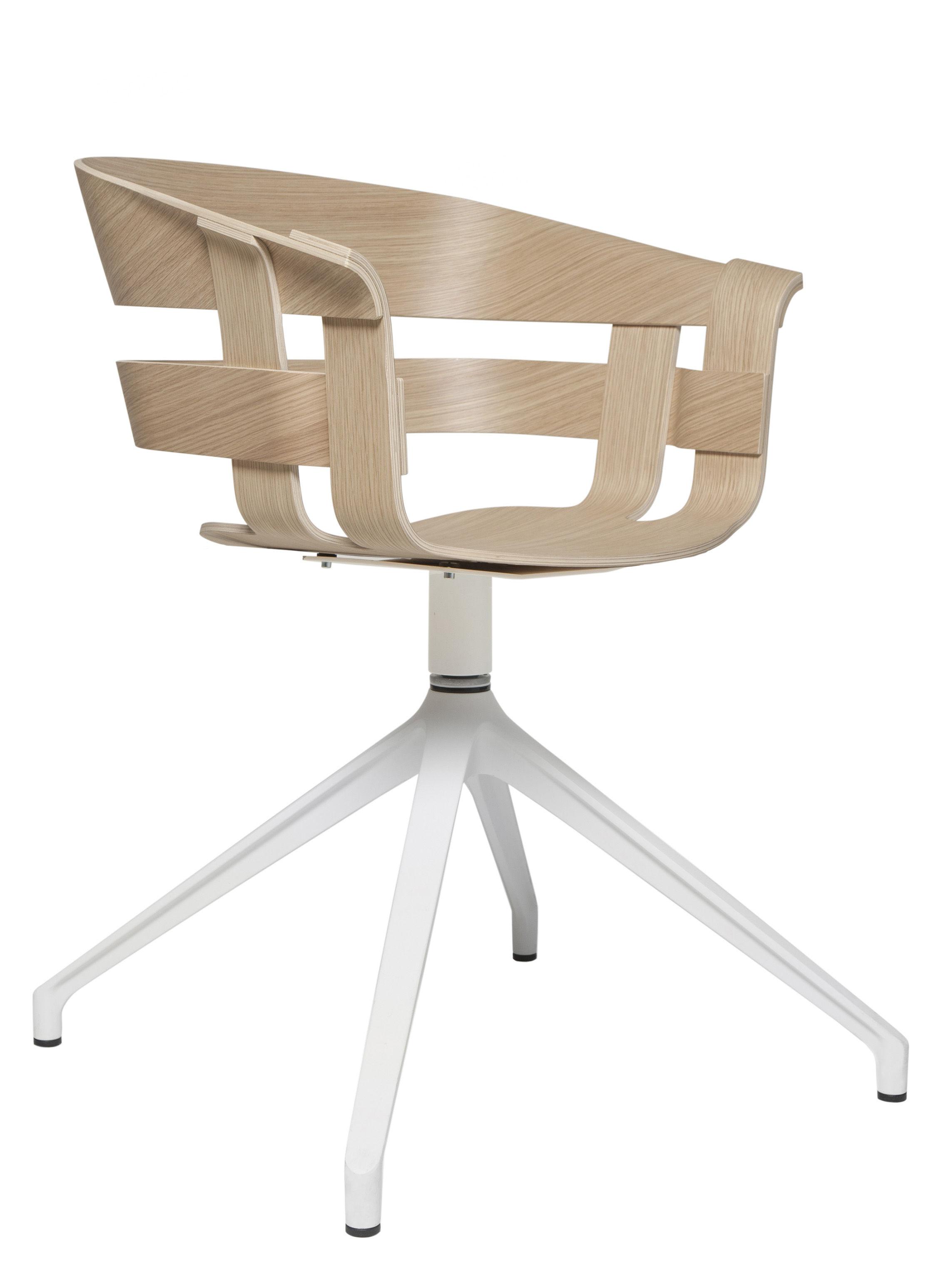 Wick Swivel Armchair Central Leg Oak White Leg By