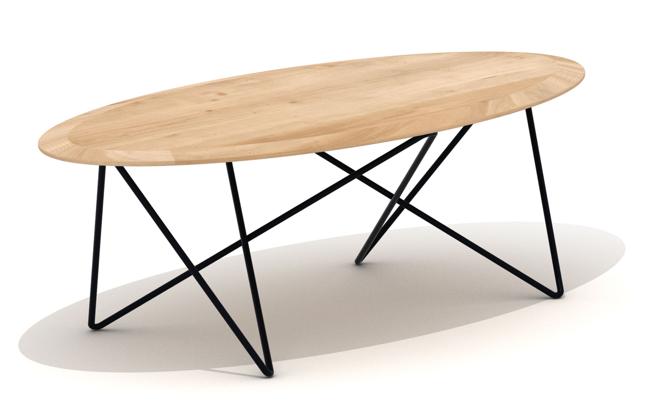 Orb coffee table l 130 cm natural wood black leg by for Table basse transformable