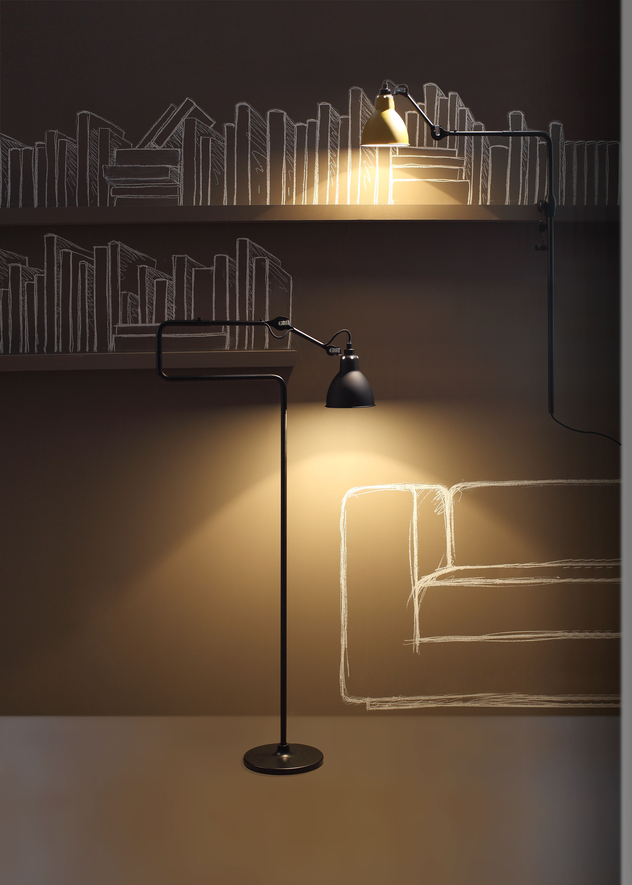 Short Floor Reading Lamps : N? small reading lamp h cm red diffuser black structure by dcw ?ditions lampes gras