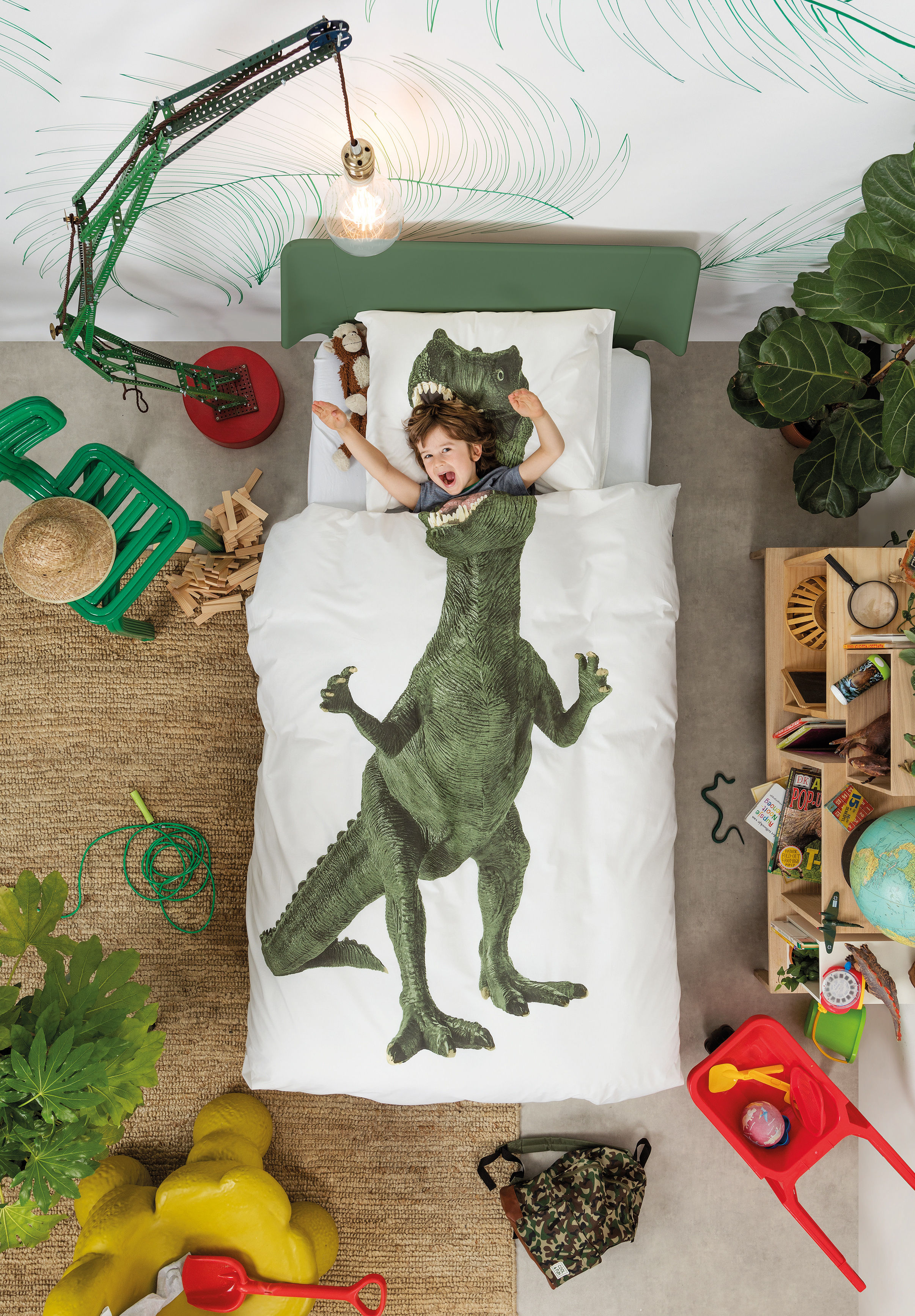 parure de lit 1 personne dinosaurus rex 140 x 200 cm. Black Bedroom Furniture Sets. Home Design Ideas