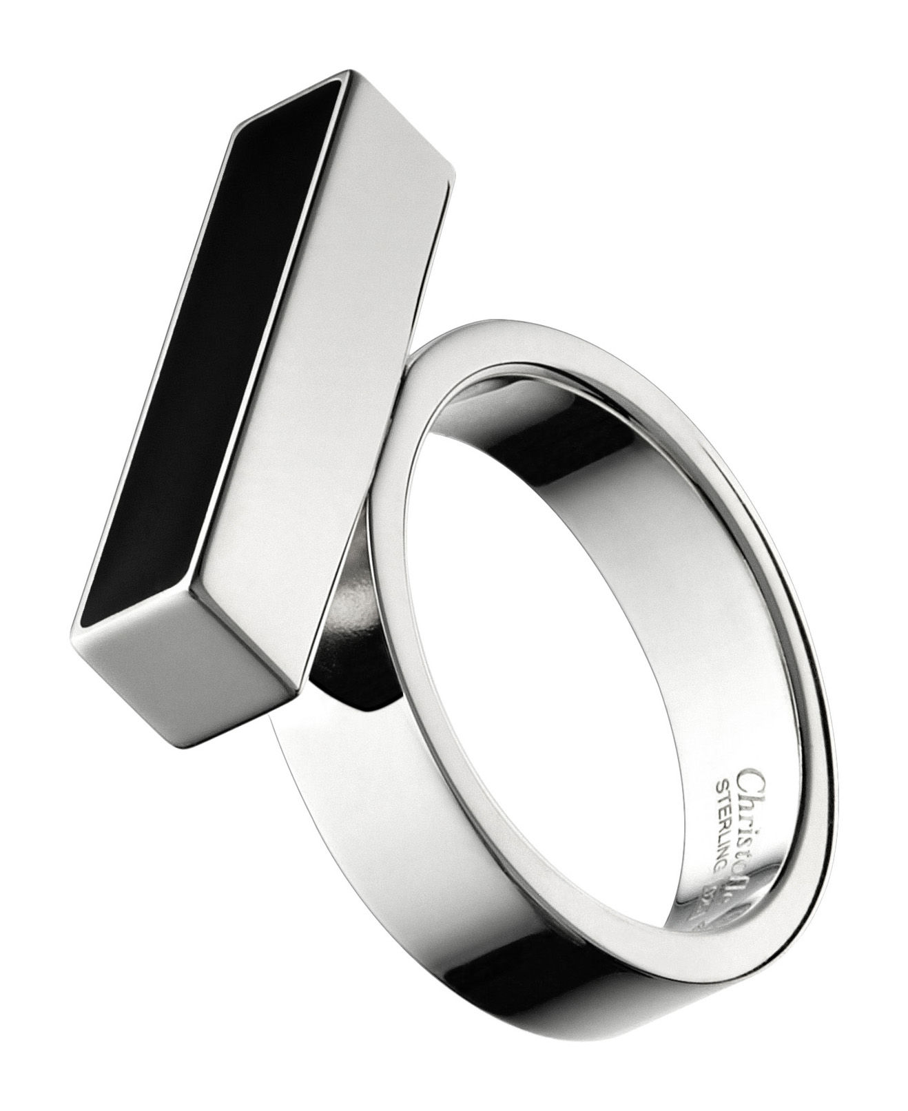 bague abstract 39 to barette by ora ito argent noir taille 53 christofle. Black Bedroom Furniture Sets. Home Design Ideas
